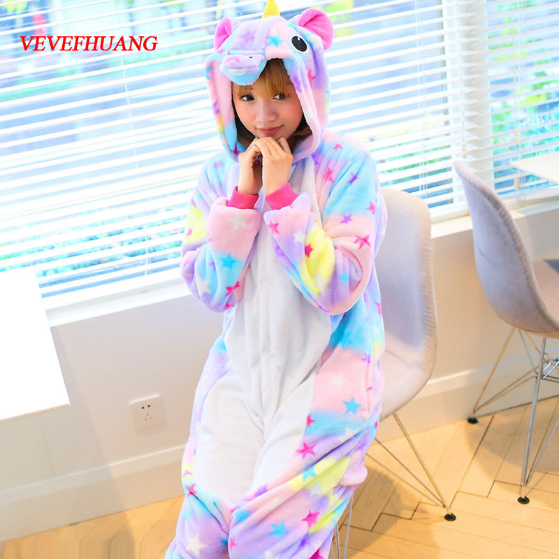 VEVEFHUANG Winter Cute Animal Flannel Warm Hoodie Pajamas Star Unicorn Pajamas Adult Cosplay Costume Sleepwear For Women Men