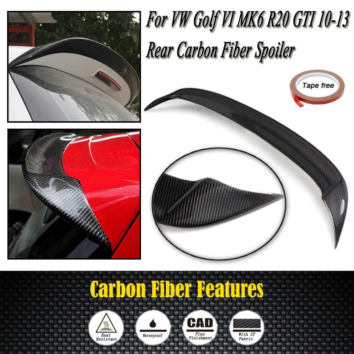 Полный углеродного волокна задний спойлер на крыше крыла лобового стекла загрузки губ Для Volkswagen для VW Golf VI MK6 R20 GTI 10 13