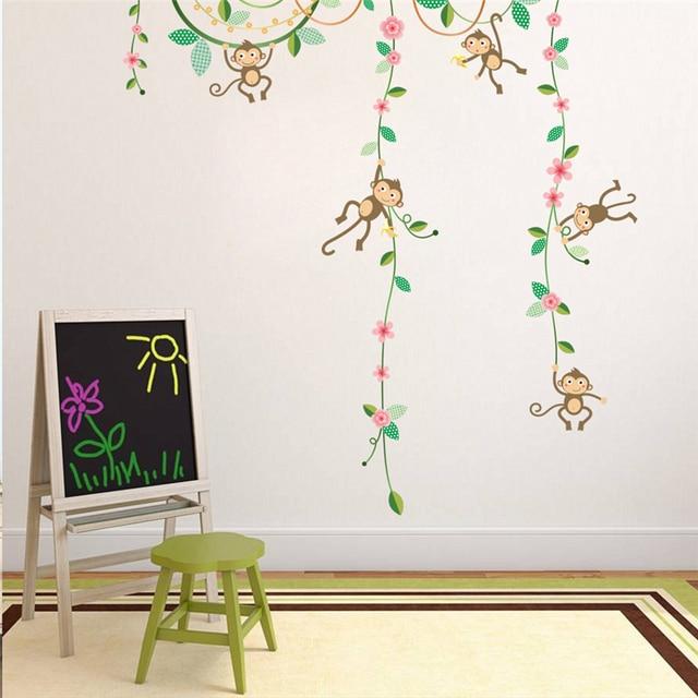 Funny Monkeys Hanging On Tree Flower Vine Wall Stickers