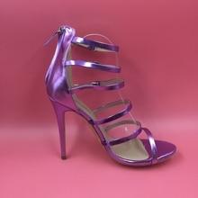 Fashion Gladiator Style Women Sandals Back Zipper High Heels Stilettos Custom Color True to US Size 4-15 Real Sandale Femme