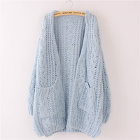 May Leaves Love Spring Women Large Size Casual Cute Loose Cardigan Solid Outerwear Lolita Cute Kawaii Female Sweater Ruffle