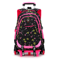 2/6 Ruedas de alta calidad de las muchachas mochila trolley mochila ortopédica bolsas para niños trolley mochila escolar Niños Mochila Hombros