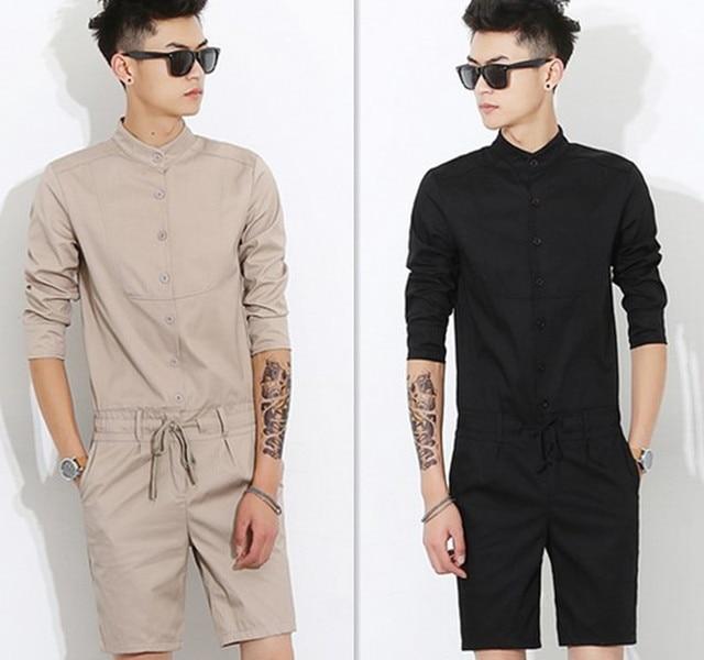 2018 Japanese Fashion Men S Fashion Collar Jumpsuits Slim Trend