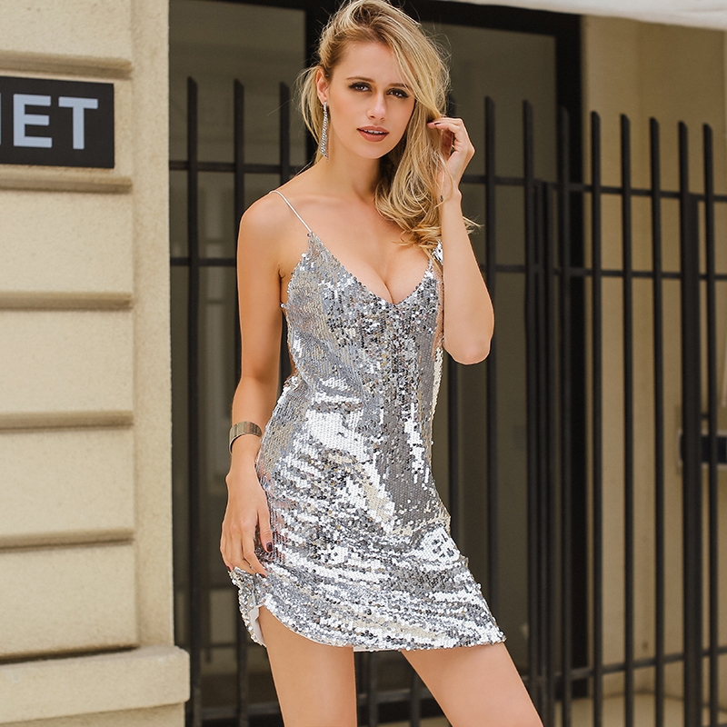 Deep V Neck Autumn Silver Sequined Backless Sexy Dress Women Off Shoulder Mini Dress Christmas Party