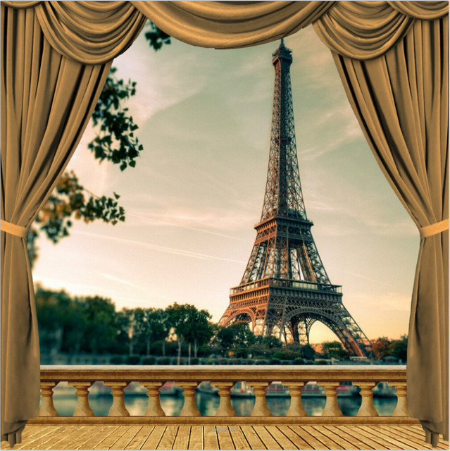 10x10ft paris eiffel tower river wooden balcony view tan drape curtain custom photography studio. Black Bedroom Furniture Sets. Home Design Ideas