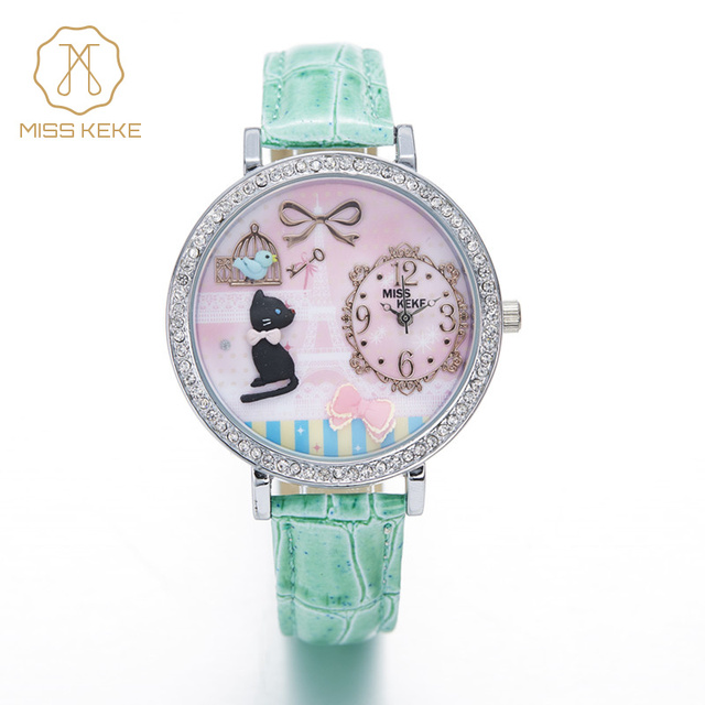 MISS KEKE Kids 3D Clay Cartoon-Watch Diamond Gold Quartz Watches Children Students Leather Girls Dress Wristwatches Clock 1059