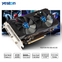 Yeston 라데온 RX 550 GPU 4 기가바이트 GDDR5 비트 게이밍 데스크톱 컴퓨터 PC 비디오 그래픽 카드