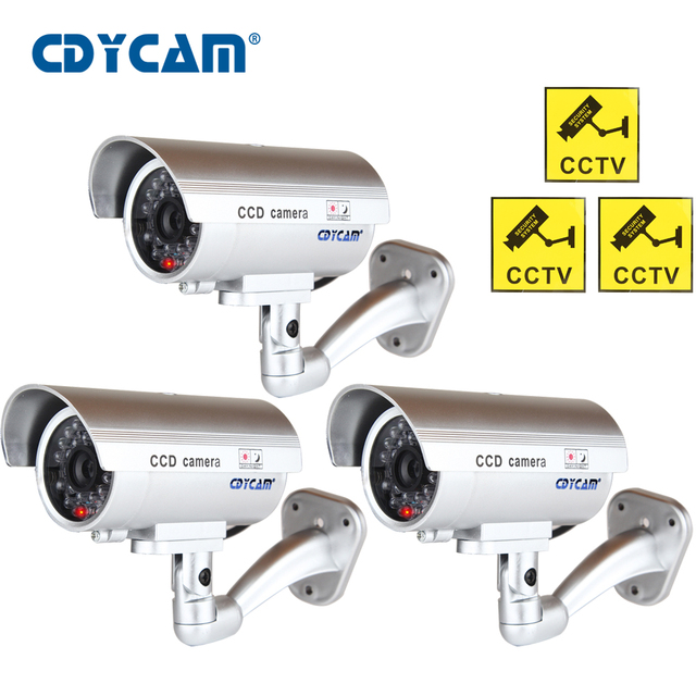 3pcs(1 bag)Waterproof Dummy CCTV Camera With Flashing LED Light For Outdoor or Indoor Realistic Looking fake Camera for Security