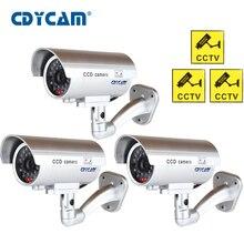 Câmera impermeável do cctv do manequim de 3 pces (1 saco) com luz conduzida piscando para a câmera falsa olhando realística exterior ou interna para a segurança
