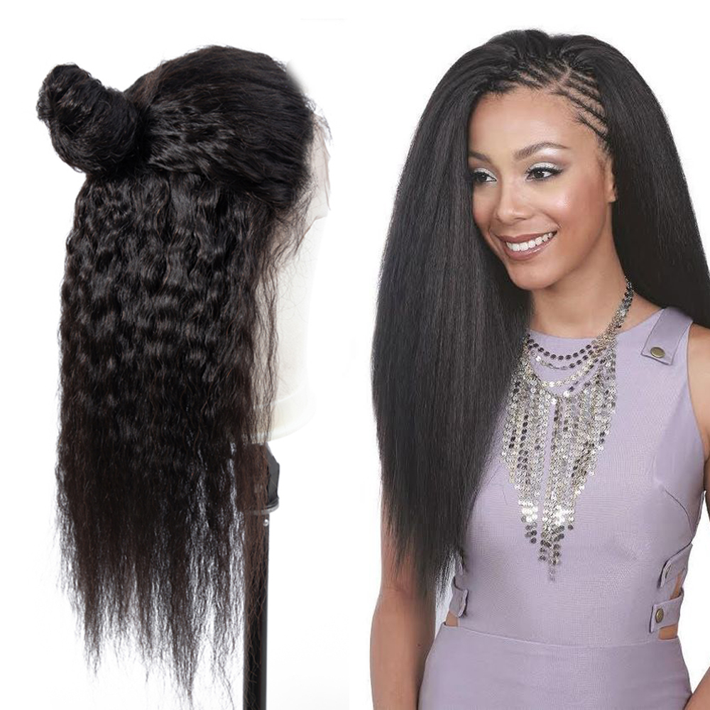 Beaudiva Hair Lace Front Human Hair Wigs With Baby Hair Kinky Straight Natural Color Brazilian Remy