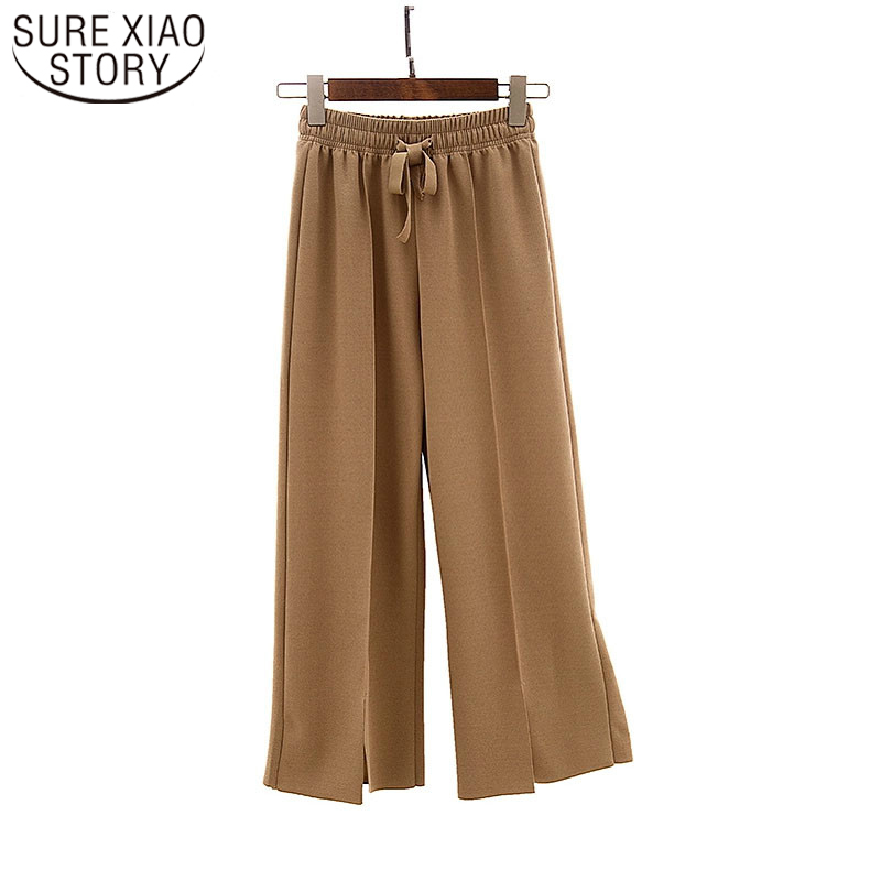 Large Size Women Chiffon   Pants   2019 Summer Fashion   Wide     Leg     Pants   Women Nine Point   Pants   Breathable and Comfortable 3614 50