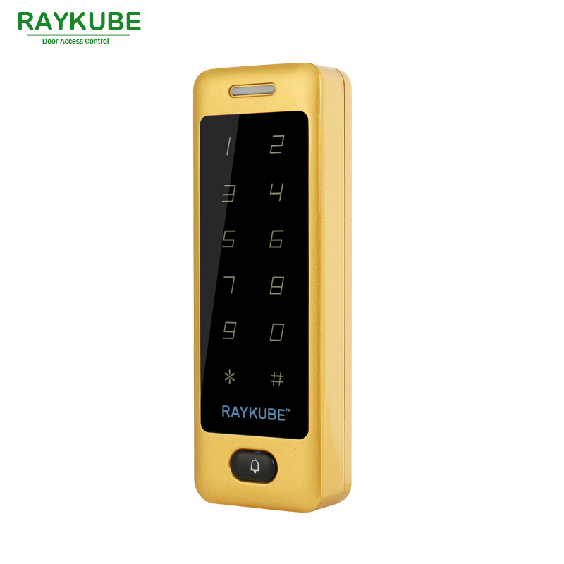 RAYKUBE Access Control RFID 125HKz Waterproof IPX3 Metal Password Touch Keypad For Door Access Control System R-T04 Glod metal shell touch keyboard 125khz rfid access control system entrance guard password and rfid 10pcs crystal keyfob
