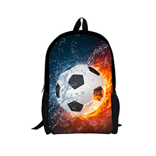 ELVISWORDS Cool 3D Water Soccerly Ball Print School Bag for Teenager Boys Casual Book Shoulder Bags Children Book Bags Backpack dispalang cute dog computer backpack for teenager animal 3d print laptop school bags for children tourism shoulder book bag