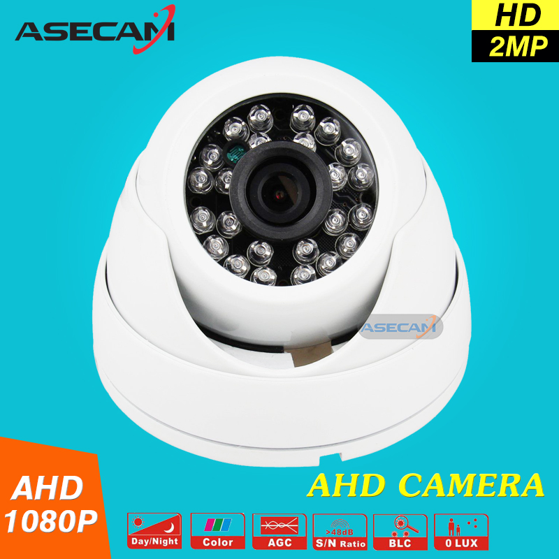 Home 2MP HD 1080P AHD Camera Security CCTV White Mini Dome Video Surveillance System IR Night Vision zea afs011 600tvl hd cctv surveillance camera w 36 ir led white pal