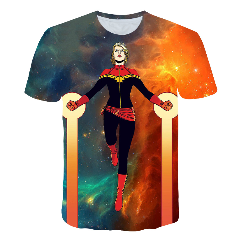 Captain Marvel America 2019 T-shirt Mma Men/women Shirts T Shirt Harajuku Funny Tops Short-Sleeve Oversize Tee