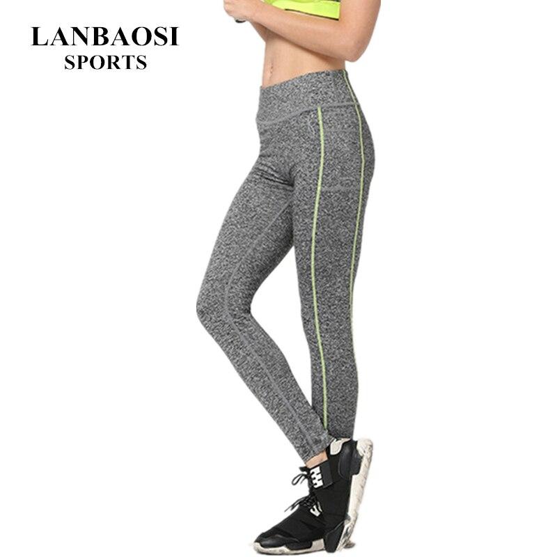 LANBAOSI Alta Cintura de Las Mujeres Mallas Pantalones Suave Slim Fit Push Up Gy