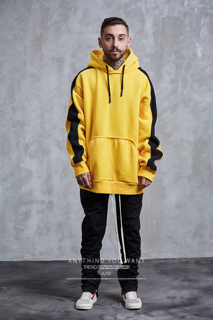 Aolamegs Hoodies Men Side Striped Hood High Street Pullover Cotton Fashion Hip Hop Streetwear Casual Big Pocket Hoodie Autumn (8)