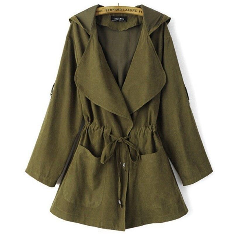 CHSDCSI Autumn Outwear Women Long Sleeve Jackets Hooded Coats Casual Coat Pocket Kimono Female Belt Loose Elastic Waist Jacket