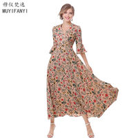 High Quality 2017 Vintage Floral Print Long Dress Autumn V Neck Three Quarter Sleeve Retro Party