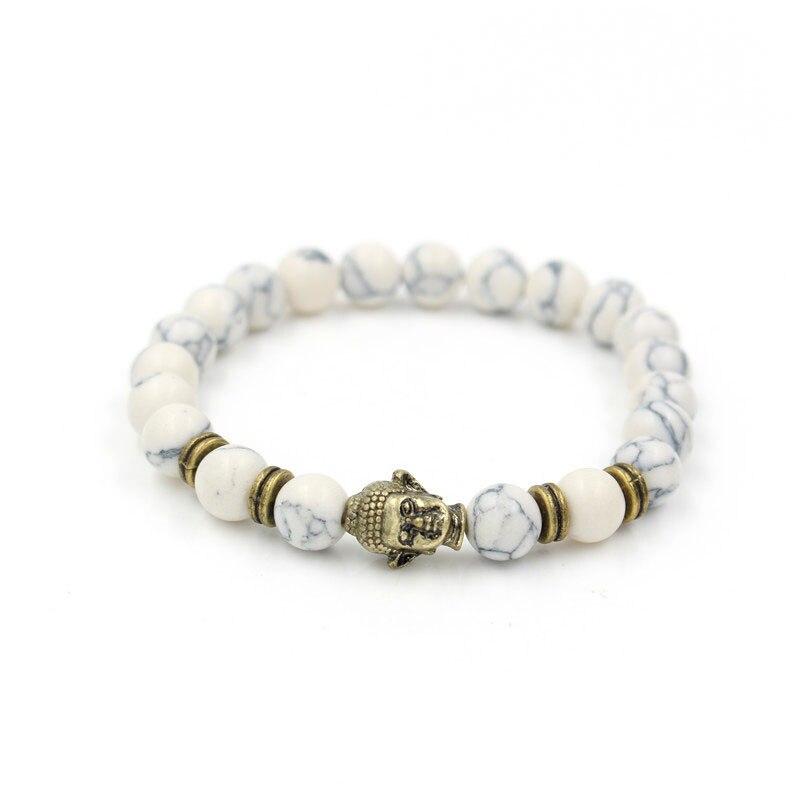 White Turquoise Stone Buddha Charm Bead Bracelet Bangle Rope Chain Natural Men Elastic Pulsera