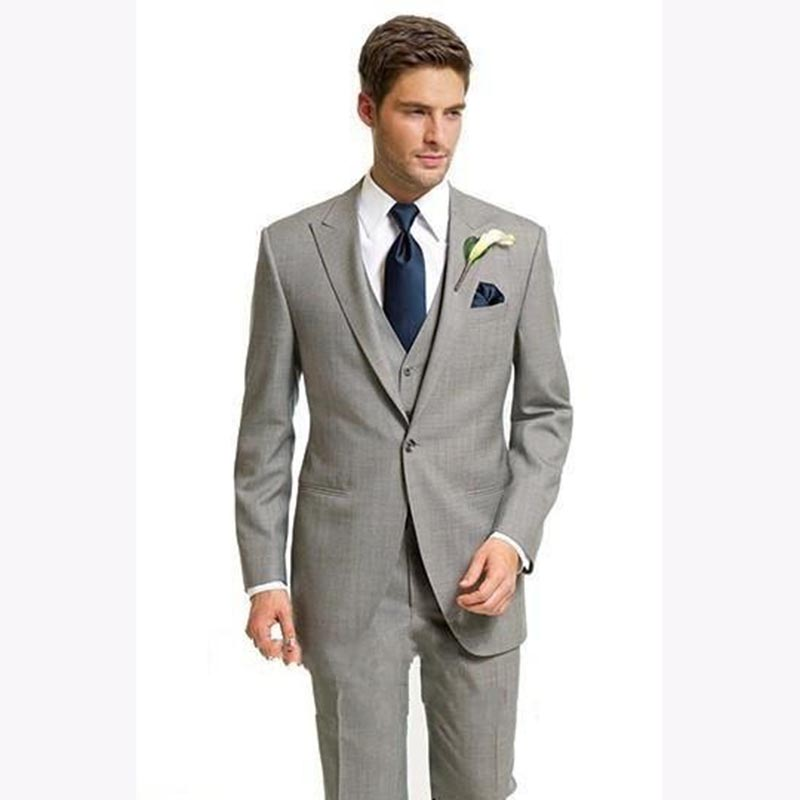 New Arrivals Light Grey Mens Dinner Prom Suits Costume