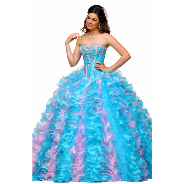 a37d19fc719 2017 Beading Quinceanera Dresses Light Blue Ruffles Luxury Crystal Fancy Ball  Gowns Prom Dress vestido de 15 anos rosa