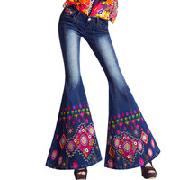 Luxury Hnad Embroidered Low Waist Big Flared Jeans Female Boot Cut Fine Beading Bell Bottom Jeans Denim Trousers A173