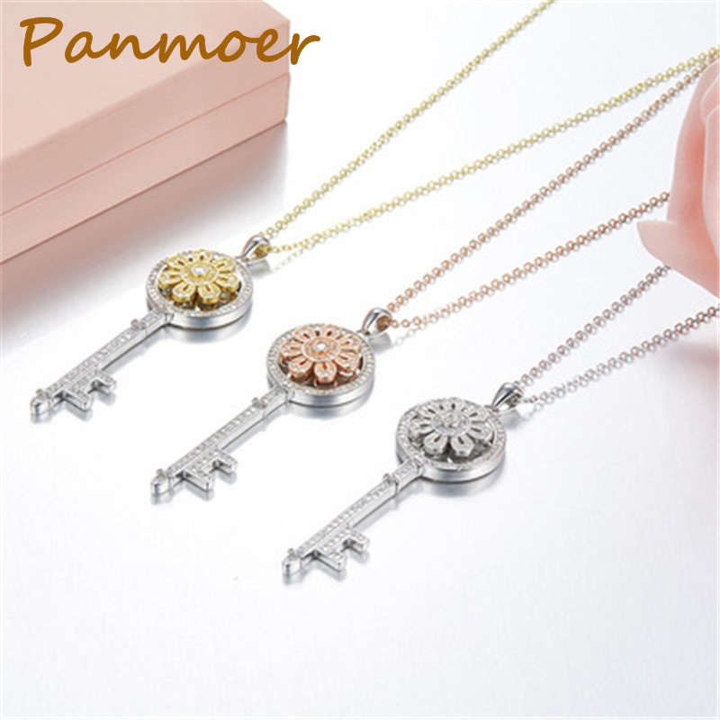 Sterling Silver 925 Flower Zircon Key t Necklace Pendant Fashion Charm Women Tiff Keys Choker Necklace women Jewelry Gifts stylish faux zircon tattoo choker necklace for women