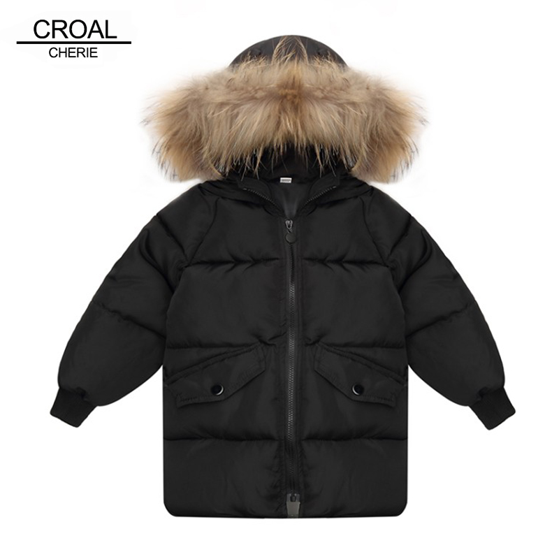 CROAL CHERIE  -30 Degrees Girls Boys Cotton-Padded Coat Raccoon Fur Collar Outerwear & Coats 2018 Winter Children Warm Clothes