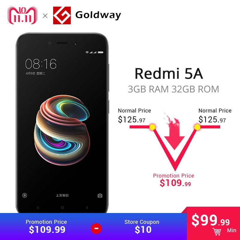 """Оригинальный Xiaomi Redmi 5A 5 A ГБ 3 ГБ оперативная память 32 ГБ Встроенная мобильный телефон Snapdragon 425 4 ядра 4G LTE """"5,0 13.0MP камера 3000 мАч батарея"""