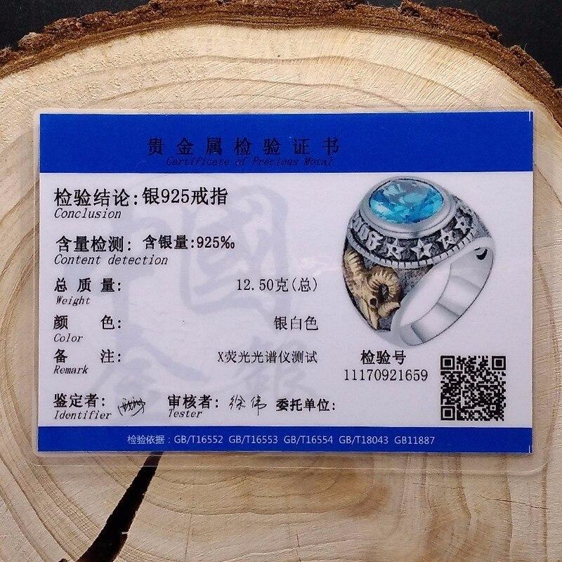 ZABRA 925 Argent Bleu Zircon Hommes Anneau Vintage Pierre Punk Rock Or Moutons Tête Thai Main Femmes Anneaux Sterling Argent bijoux - 6