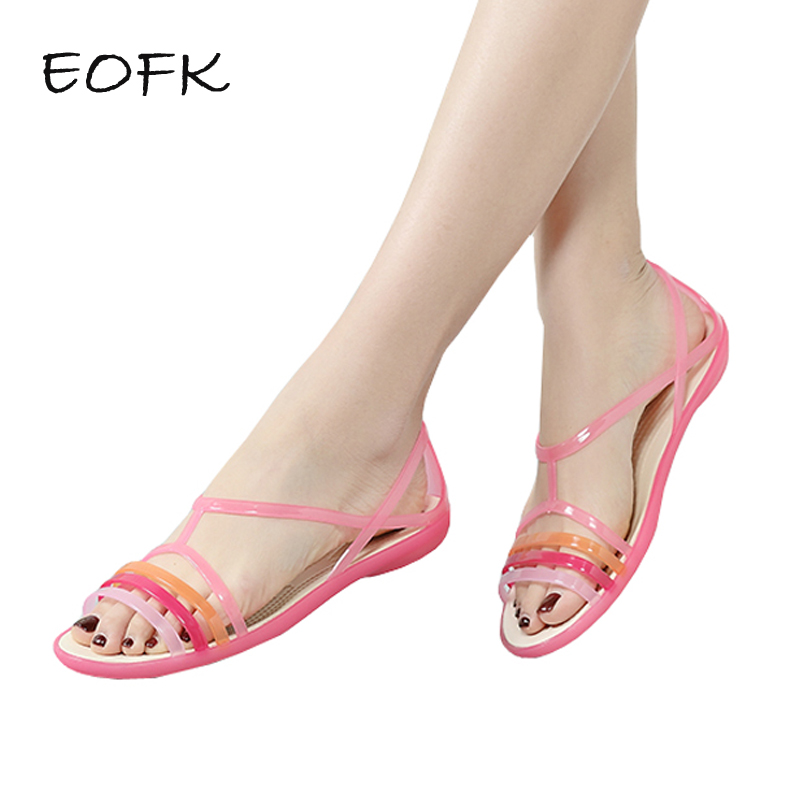 цена EOFK 2018 Women Sandals Summer New EVA Casual Mixed Candy Colors Soft Slip On Beach Jelly Shoes Woman Flat Sandals в интернет-магазинах