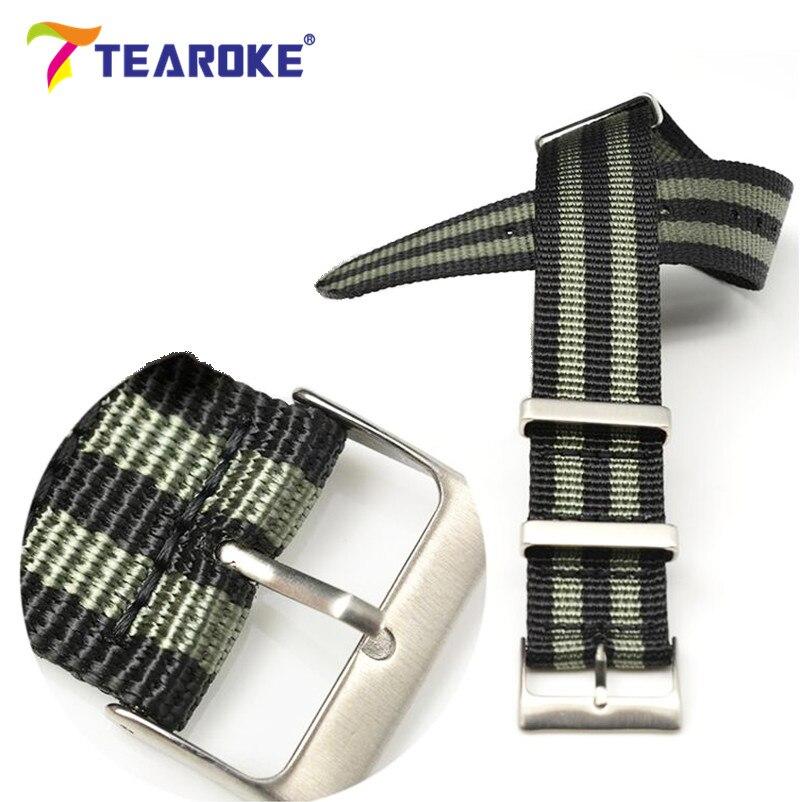 TEAROKE Heavy Duty Nylon NATO ZULU Watchband 20mm 22mm Stainless Steel Square Buckle Striped Canvas Replacement Watch Band Strap дырокол deli heavy duty e0130