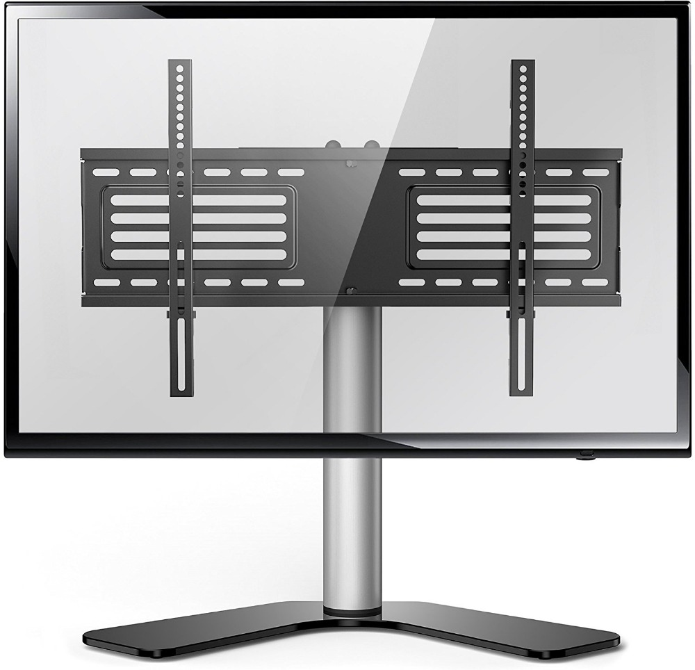 Fitueyes Universal Table Top TV Stand for 32 to 65 inch TVs with 25 Degree Swivel, Height Adjustable Stands, TT106001GB