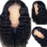 SimBeauty Deep Wave Human Hair Wigs Pre Plucked For Black Women Full Lace Wig With Baby Hair Natural Hairline Peruvian Remy Hair