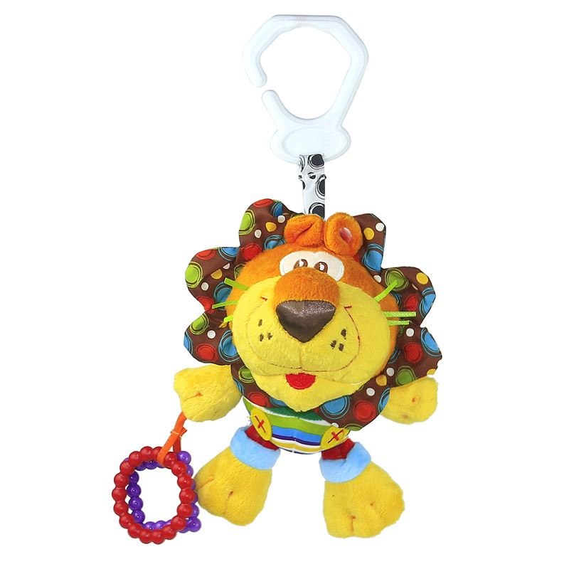 0+ Baby Plush Toy Crib Bed Hanging Ring Bell Lion Toy Soft Baby Plush Rattle Early Educational Doll 23cm