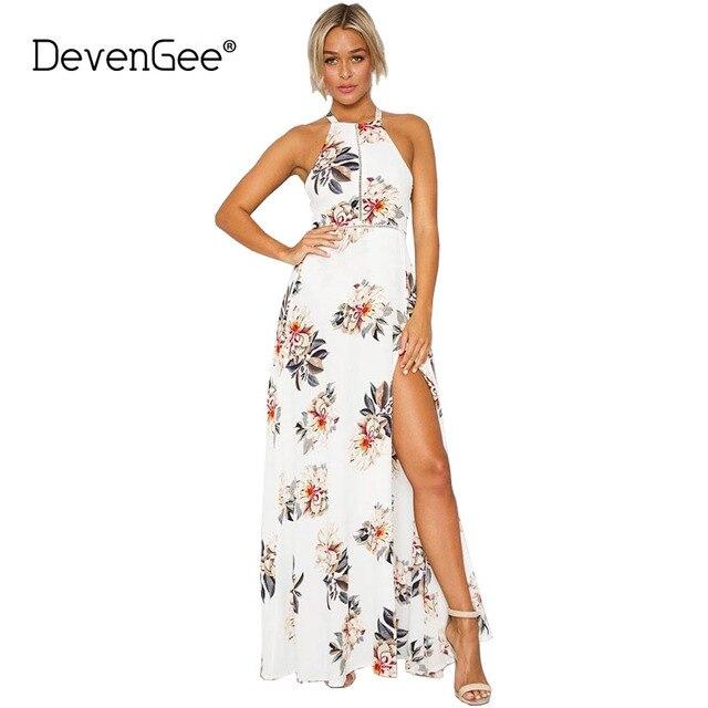 2a1a5f4533feb DevenGee White Summer Beach Bohemia Long Dress Women Sexy Backless Split  Floral Print Halter Chiffon Maxi Vintage Dress Vestidos