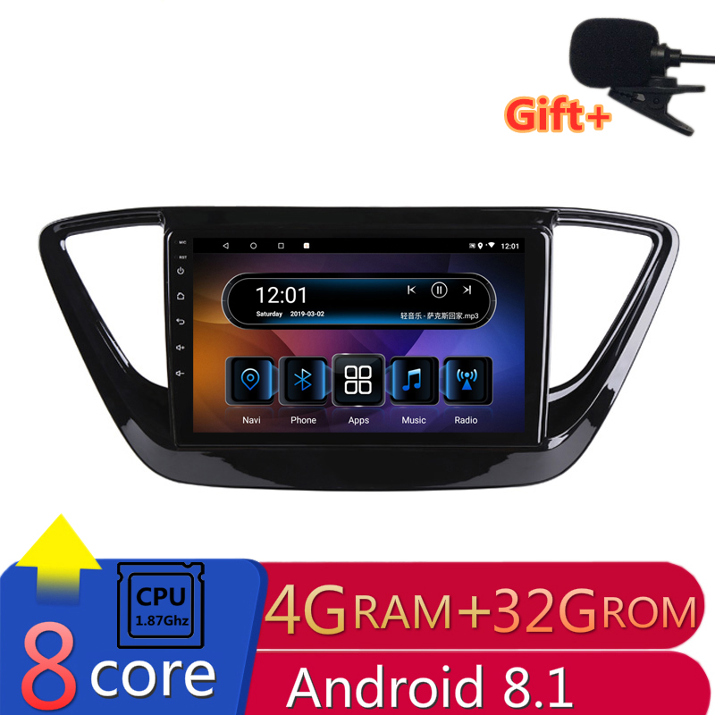 "9"" 4G RAM 2.5D IPS 8 CORE Android 8.1 Car DVD Multimedia Player GPS For Hyundai Verna Solaris 2017 2018 audio radio navigation"