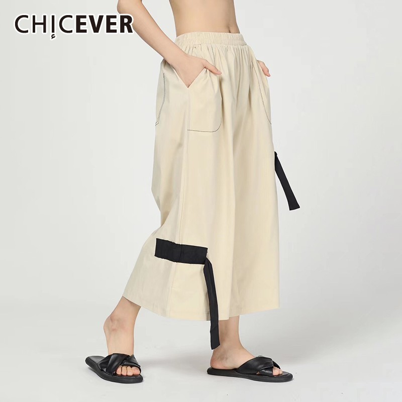 CHICEVER Summer Casual Solid Patchwork Ribbon Women   Pant   Elastic Mid Waist Pockets Loose Slim Ankle Length   Wide     Leg     Pants   2019