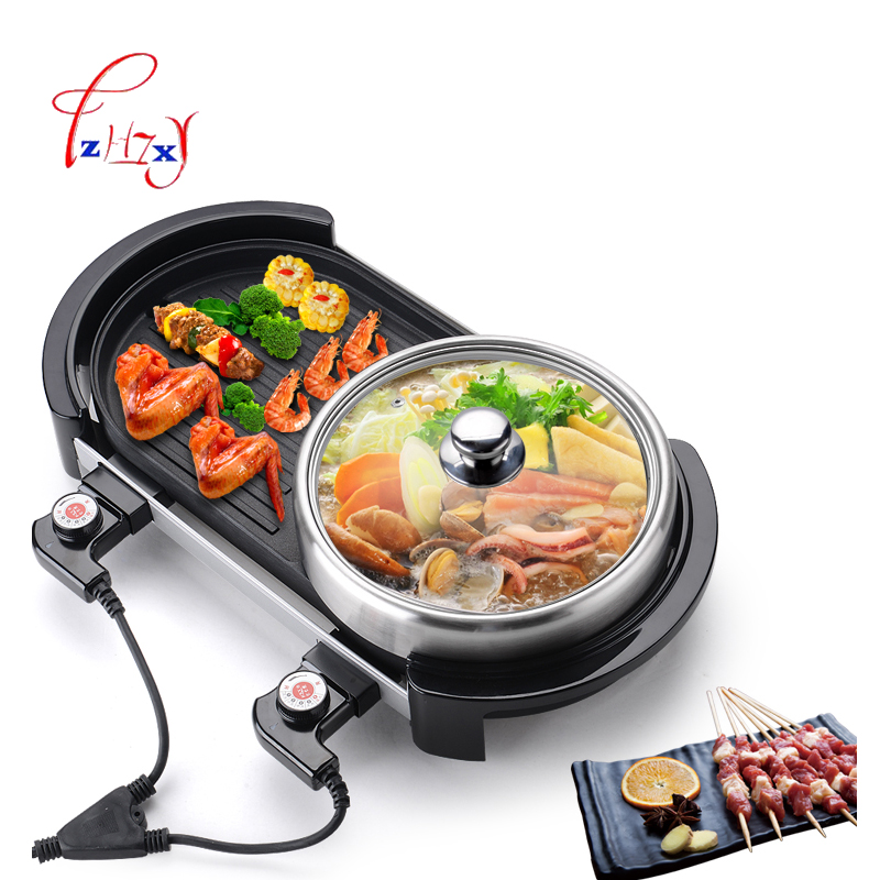 Multi-function Electric Smokeless Indoor Bbq Grill Barbecue Plate+Chafing Dish Hot Pot  220v 2000w Smokeless barbecue machine 220v 600w 1 2l portable multi cooker mini electric hot pot stainless steel inner electric cooker with steam lattice for students