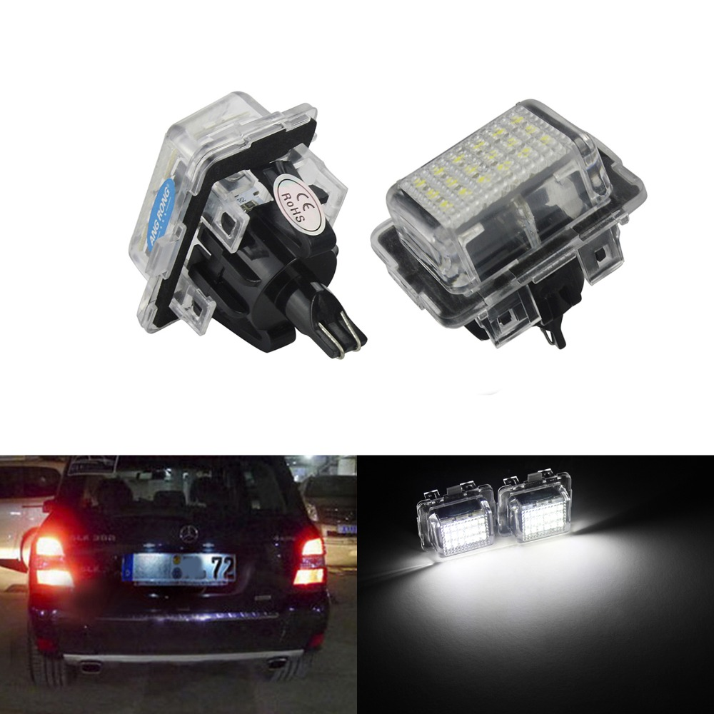 ANGRONG 2pcs 18 SMD LED Licence Number Plate Light for Mercedes W204 W212 C207 C216 W221 R231