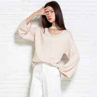 Loose Sweater Long Women Pullover Halter Neck Sweater Wine Red Black Beige Color Batwing Sweater Female 2018 Spring Autumn New