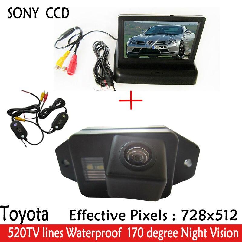 Parking 4.3 pouces WIFI LCD voiture vidéo pliable moniteur caméra + voiture vue arrière Parking SONY caméra pour TOYOTA LAND CRUISER PRADO