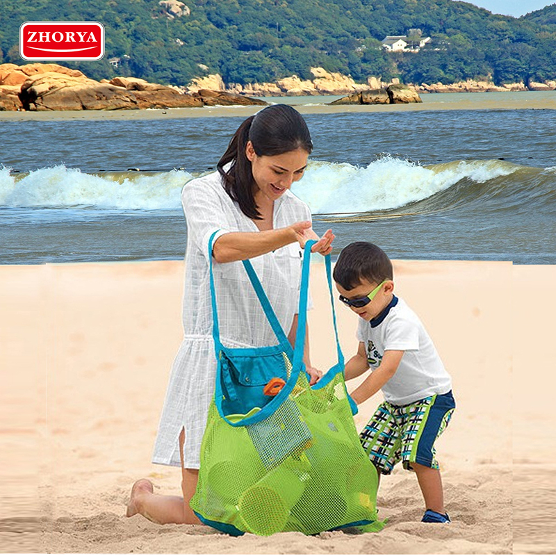 Zhorya Kids Baby Sand Away Beach Bag Carry Beach Toys Pouch Tote Mesh Large Children Storage Toy Collection For Kids Children