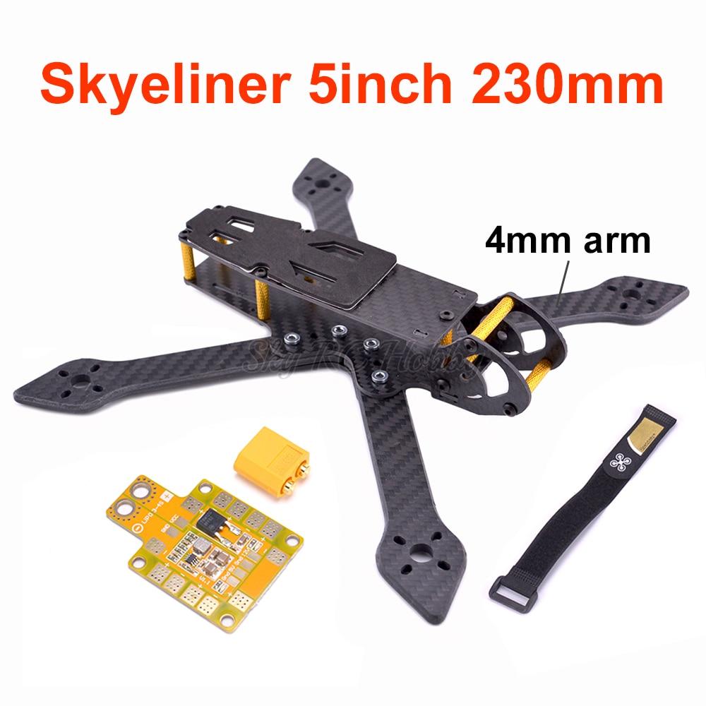 Skyeliner 5inch 230mm 230 5' true X Carbon Fiber Quadcopter Frame kit with 4mm Milling arms / 5V / 12V PDB Board For RC Drone