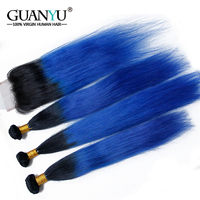 Guanyuhair 3Pcs Ombre 1B/Blue Hair Bundles With Closure 4x4 #Dark Roots Brazilian Remy Straight Human Hair Weave