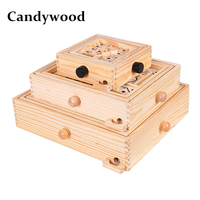Candywood 3 Size Wooden intelligence Labyrinth Board Game Ball in Maze Puzzle Educational Toys for Children Adult maze toy gift