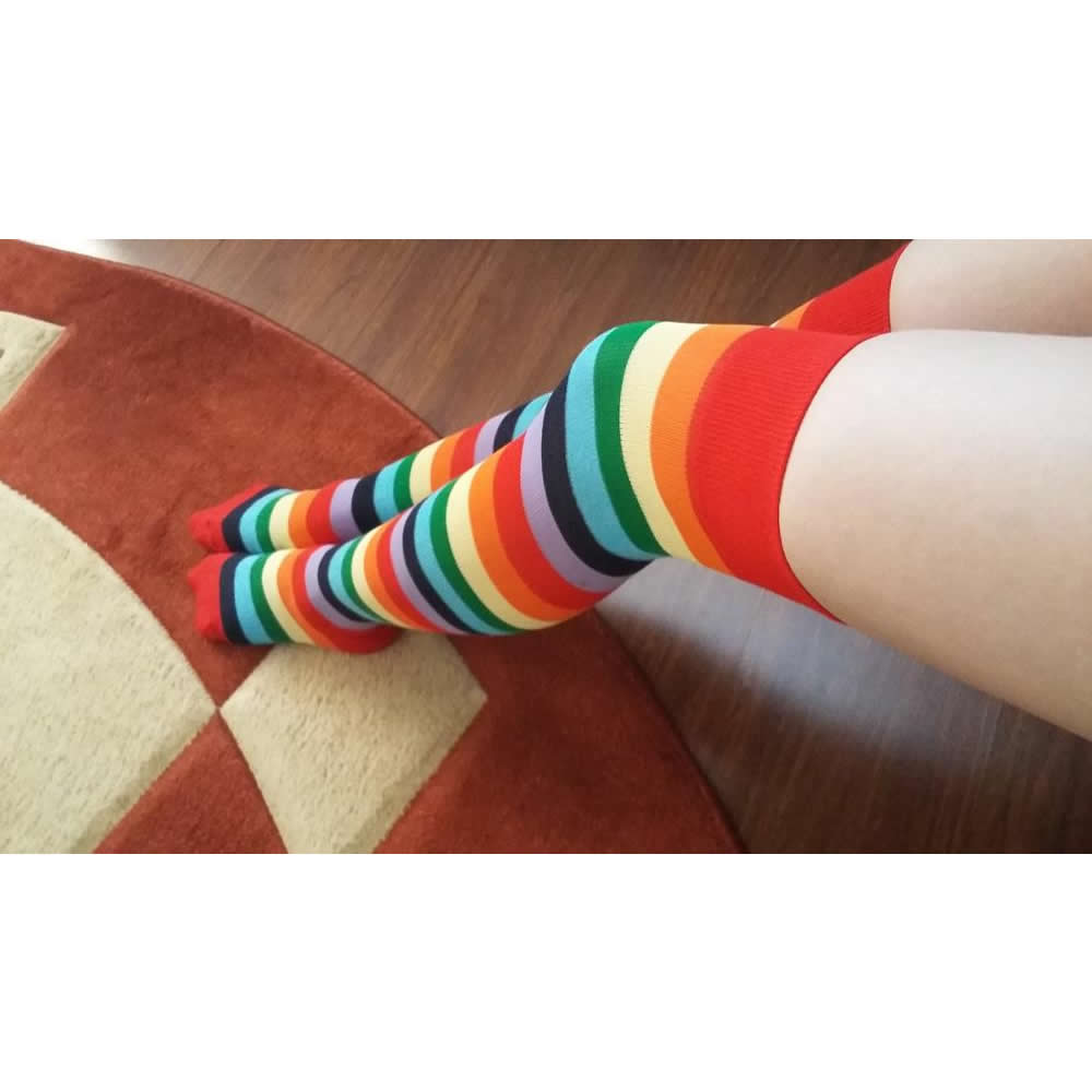 New Fashion Rainbow Color Striped Stockings Women Girls Thigh High Stockings Nylon Long Over Knee Stockings Pantyhose Tights in Stockings from Underwear Sleepwears
