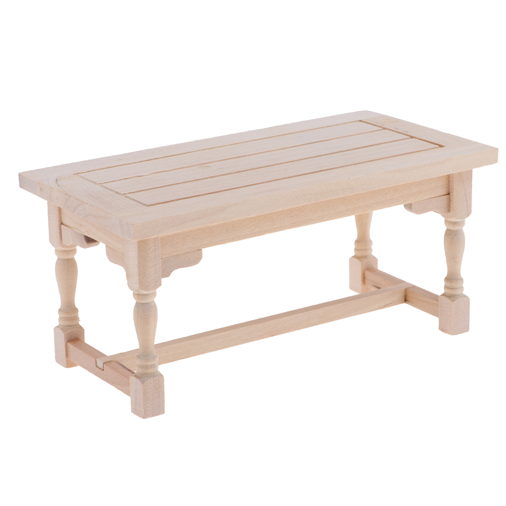 1:12 Dollhouse Miniature Furniture Wooden Rectangle Table For Living Room ^