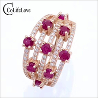 CoLife Jewelry natural ruby silver ring for party 9 pieces 3 mm ruby gemstone ring ruby fine jewelry free gift box